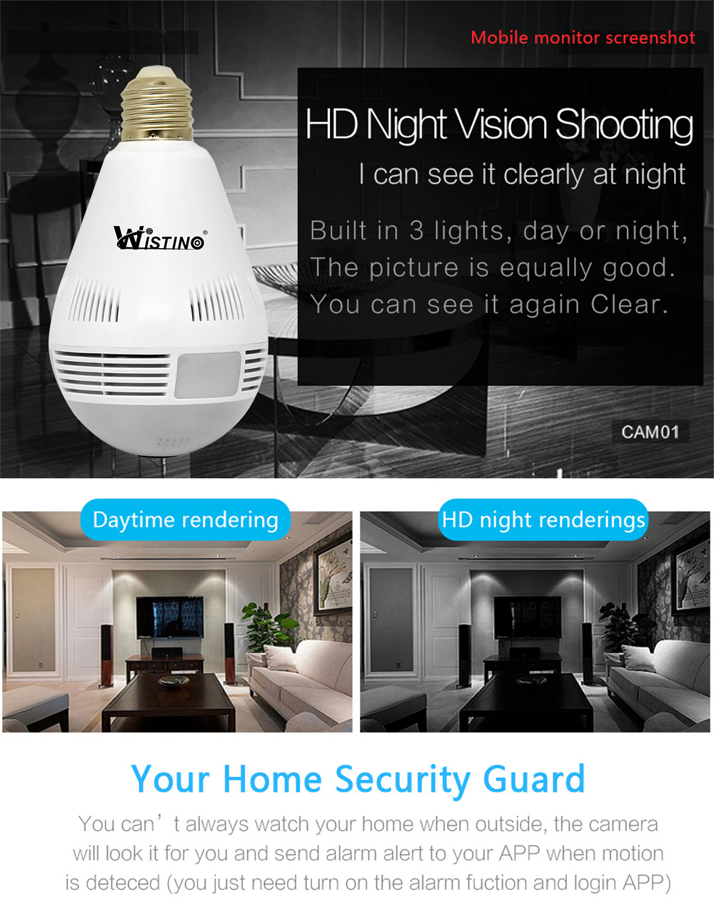 Wistino Wireless IP Camera Bulb Light WiFi 960P VR Panoramic FishEye Lamp Cameras CCTV Security Home Baby Monitor 360 Degree Night Vision (7)