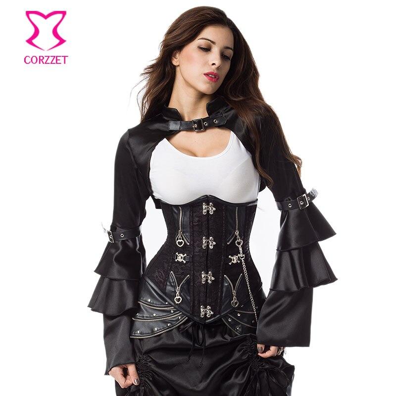 Modni crni satenski rukavi s dugim leptirima s remenom gotičke jakne - Ženska odjeća - Foto 2