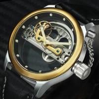 FORSINING Golden Bridge Mechanical Watch Men Top Brand Luxury Genuine Leather Strap Gear Transparent Case Business Wrist Watches