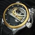 Reloj Mecánico de puente dorado FORSINING para hombre, reloj de pulsera de cuero genuino de lujo, caja transparente, relojes de pulsera de negocios