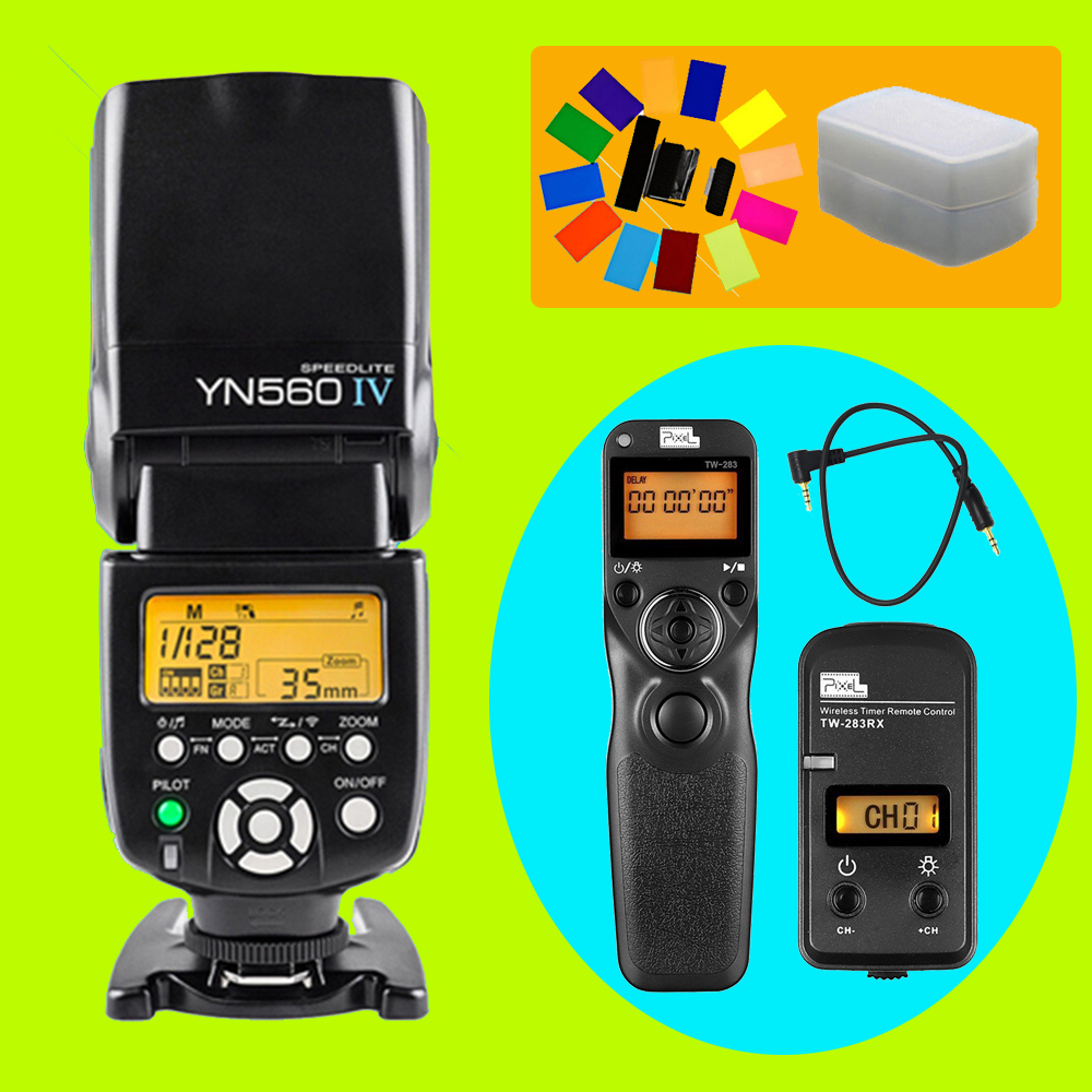 YONGNUO YN560 IV YN-560 IV Flash Speedlite & Pixel TW-283 E3 Shutter Release For Canon 70D 1200D 1100D 1000D 760D 750D 700D 60D wired remote shutter release for canon eos30 eos33 pentax samsung more