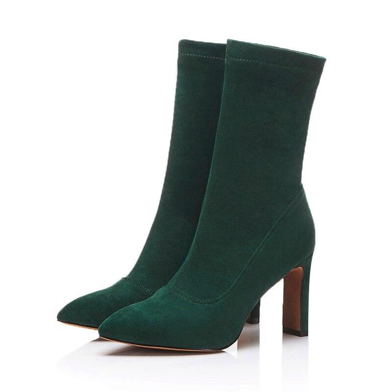 JK бренд показать стрейч Ткань полусапожки очаровательные Демисезонные ботинки пикантные острый носок Для женщин Обувь на высоких каблуках...