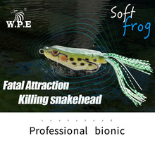 W.P.E New Frog Lure 1pcs 15.2g Snakehead Artificial Crank Strong Soft Ray Minnow Fishing Tackle Top Water Bait
