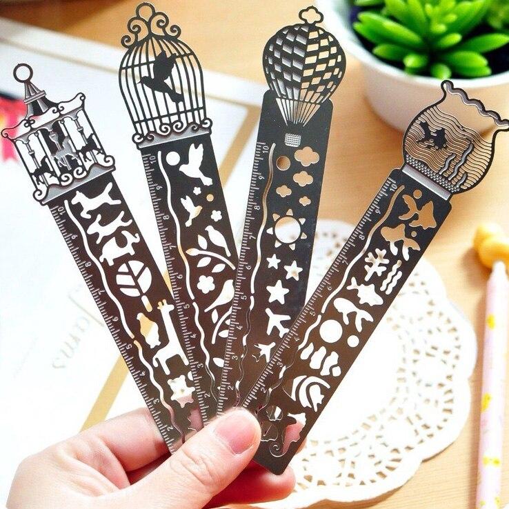 1Pcs New Cute Kawaii Creative Horse Birdcage Hollow Metal Bookmark Ruler For Kids Student Gift School Supplies H2275