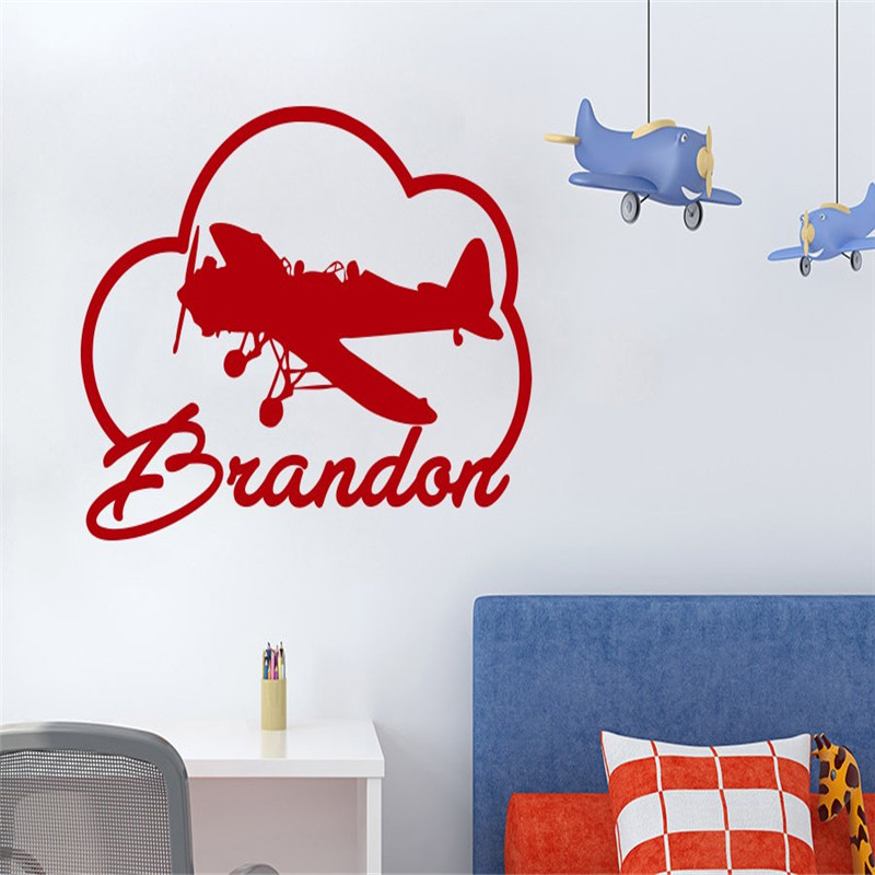 Airplane In The Clouds With Custom Baby Boys Name Cute Wall Murals Home Kids Nursery Bedroom Funny Decorative Wall Stickers
