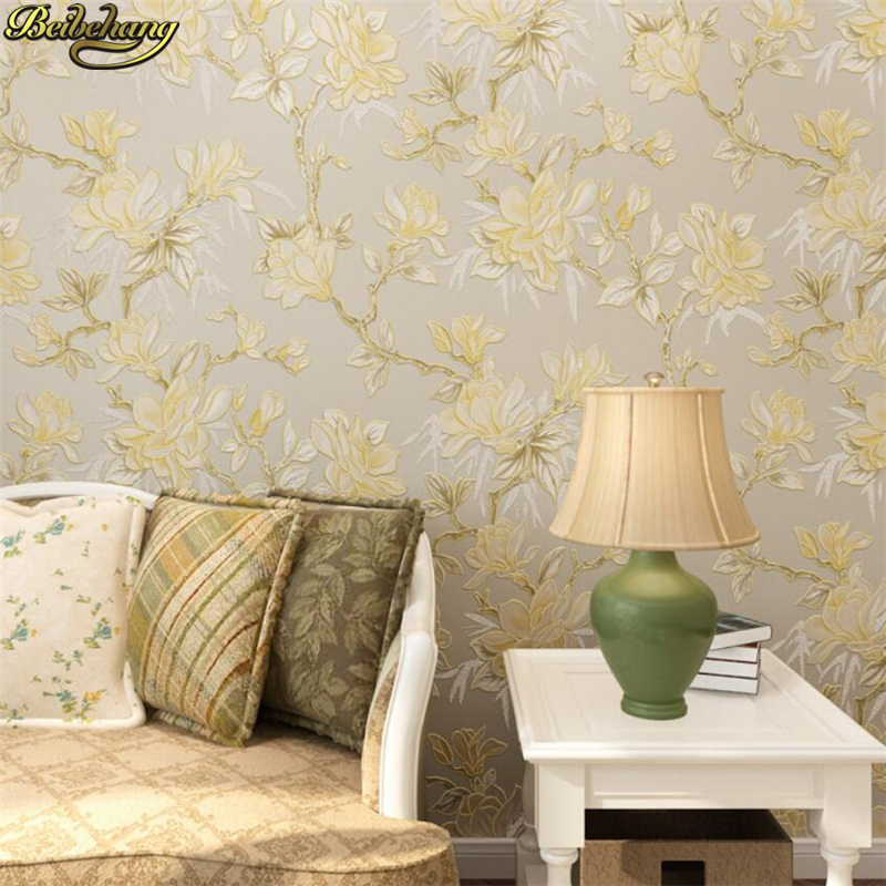 beibehang 3D Wallpapers Pastoral Big Flower American Country Living Room Backdrop Nonwovens Wallpaper Bedroom papel de parede pastoral large flower wallpapers 3d stereoscopic non woven embossed wallpaper for living room bedroom home decor papel de parede