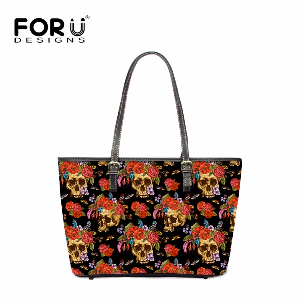 FORUDESIGNS Fashion Skull Design Women Casual Tote Bags Vintage PU Shoulder Bags Handbags for Woman Ladies Bolsas Feminina 2017 forudesigns casual women handbags peacock feather printed shopping bag large capacity ladies handbags vintage bolsa feminina