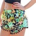 2017 Sexy Pantalones Cortos de Verano ropa de Playa Casual Patchwork Borla Pantalones Cortos Elásticos de la Cintura de la Impresión Floral Casual Shorts Feminino Cuerda Tie F205