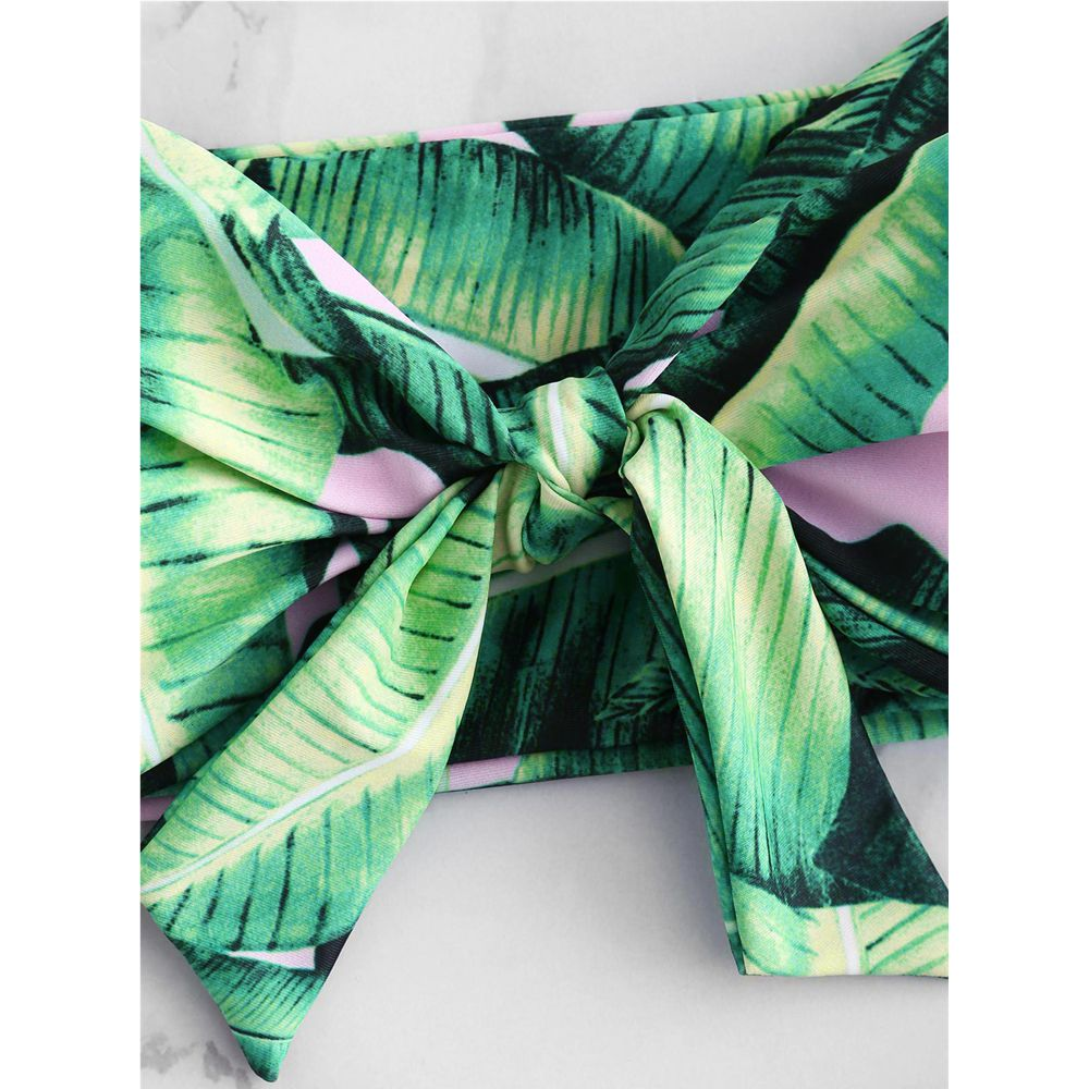 154835af7c1b5 ZAFUl Palm Tie Front Bikini Set Women Swimwear High Waist Swimsuit Bandeau  Tropical Leaf Bathing Suit Biquni Padded Swimsuit-in Bikinis Set from  Sports ...