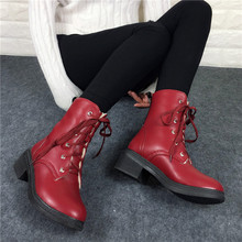 Big size 34-43 Fashion Autumn And Winter Ankle Boots 2016 Women Ladies Brand Punk Lace Up Platform Shoes Thick Heel Martin Boots