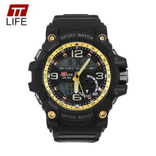 TTLIFE Men Sports Military Analog Digital Watch Waterproof Stop Watch LED Display Watch Alarm Back Light Quartz Wristwatch TS19