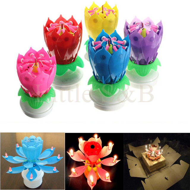Musical Lotus Flower Flame Happy Birthday Cake Party Gift Present Lights Rotation Decoration 8 Candles Lamp Festival Surprise