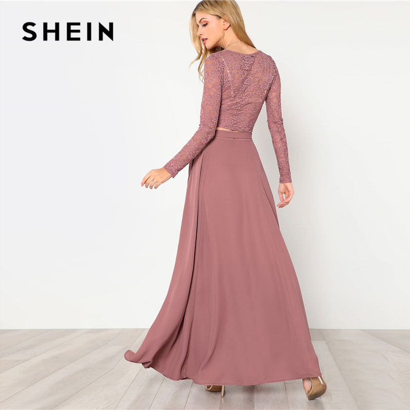 SHEIN Pink Crop Lace Top Knot Skirt Set Women Round Neck Long Sleeve Belt Elegant Two Pieces Sets 2018 Spring Plain Twopiece 2