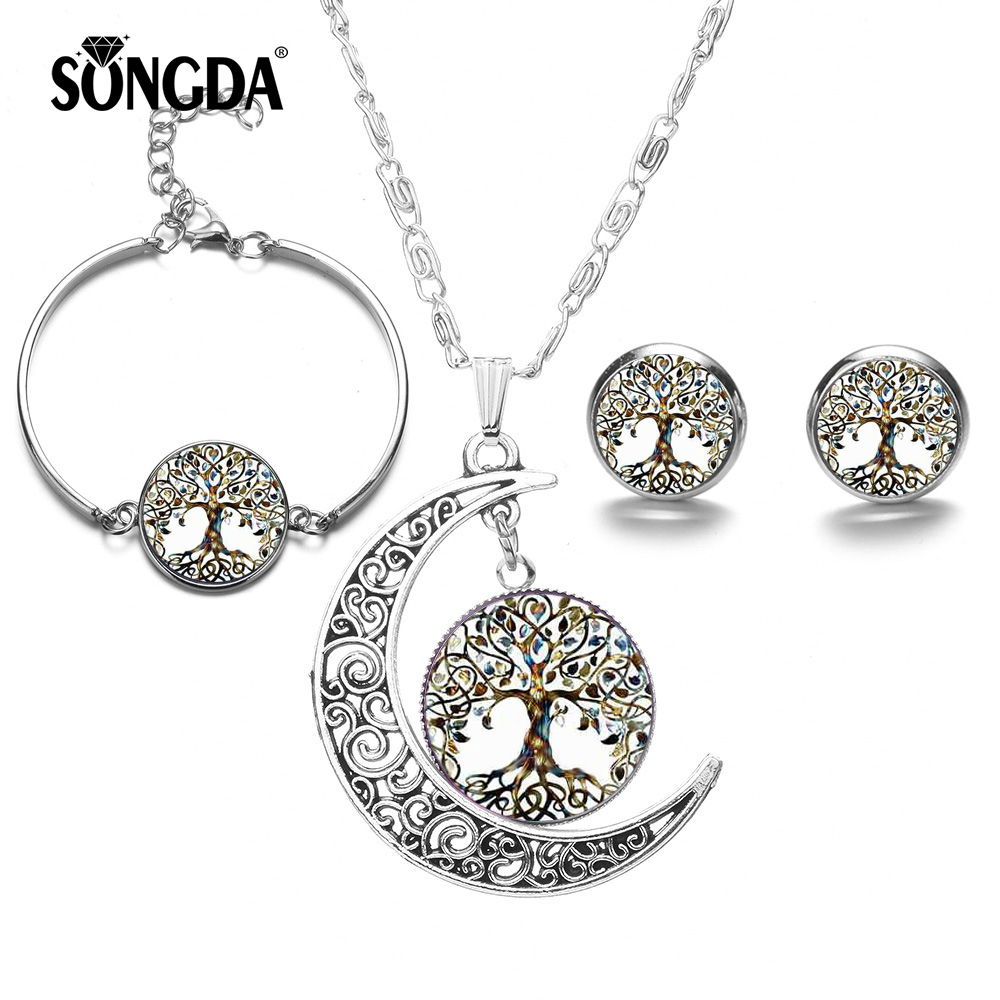 SONGDA Silver Color Fashion Tree Of Life Glass Jewelry Sets for Women Glass Dome Statement Necklace & Stud Earrings Bangles