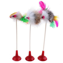 1pcs Cat Sucker Toy Mouse cat toys interactive Pet Toys With Feather Tails 20CM Length Kitten cats products for pets