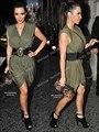 Kim Kardashian Vestido Verde Oliva Cinto V-Decote Curto Comprimento Preto Vestidos de Celebridades