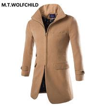 Top quality 2017 brand men's new lapel long sleeves zipper woolen coats Casual men's  jacket Fashion men's clothing 4 colors