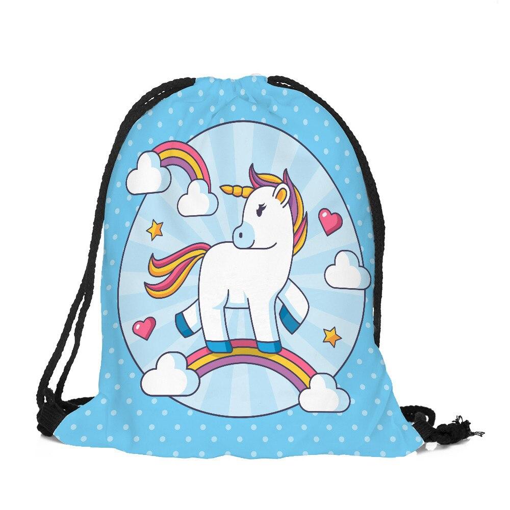 1pcs 32x38cm Unicorn Pattern Storage Bag Women Men Drawstring Travel Backpack Bag Toys Shoes Clothes Organizer 49252