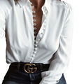 2017 Spring Solid Casual Blouses Women Long Sleeve Turn Down Collar Button Tops Hot Sale Slim White Women's Shirt Lq558