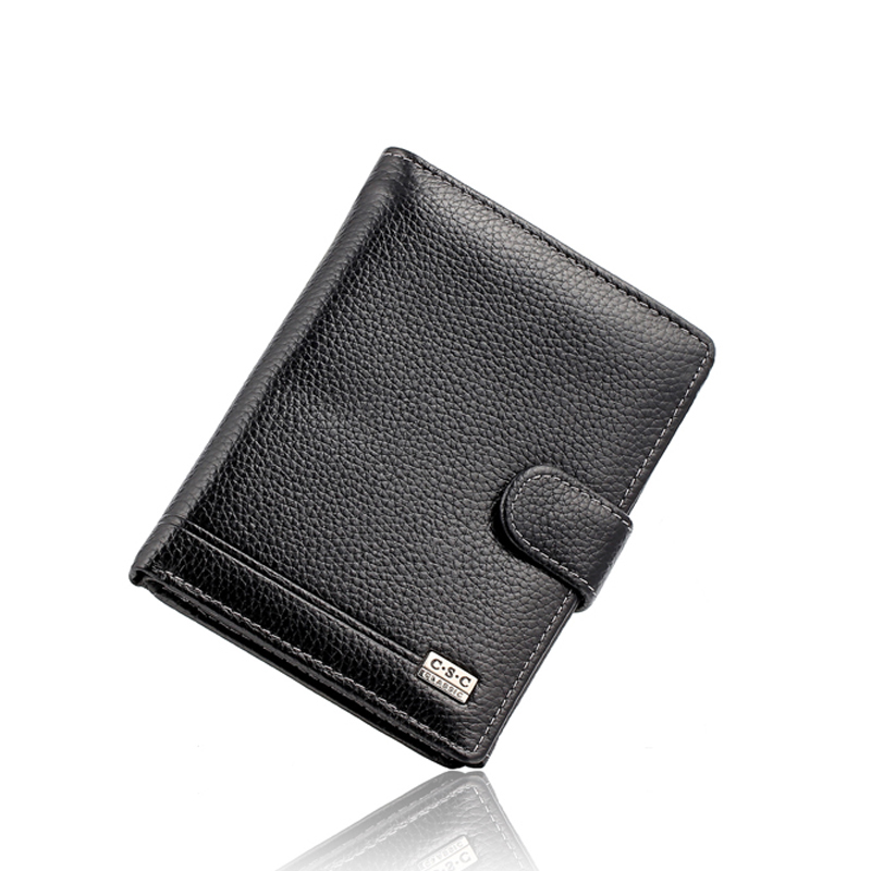 Mens Black Real Genuine Cowhide Leather Money Pocket Wallets and Purses Coin Passport Credit Card Holder Bag Famous Design Brand high end brand leather men keep the combination of the real stock exchange zip pocket money cowhide mixed skin