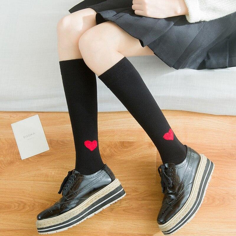 Filles Femmes Coeur Motif Bas Noir Blanc Gris Coton Genou Chaussettes Japonais à Hauteur Du Genou Bas pour L'école Fille Printemps nouveau