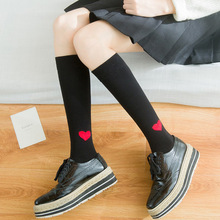 Girls Women Heart Pattern Stockings Black White Gray Cotton Knee Socks Japanese Knee-high Stockings for School Girl Spring New