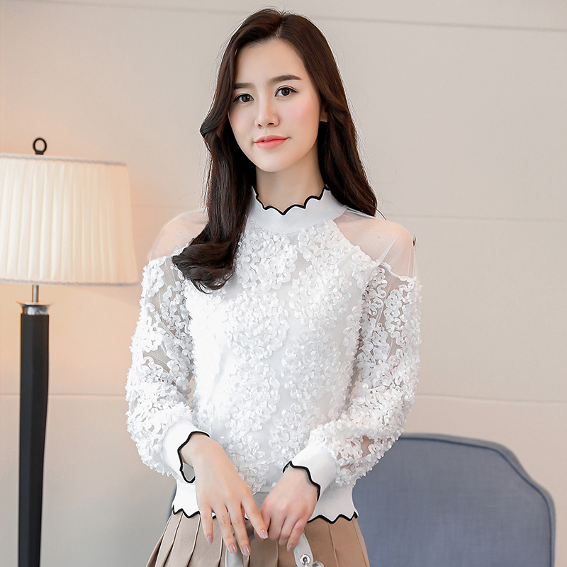 lace patchwork sexy style female shirts fashion women clothing lace blouses  1