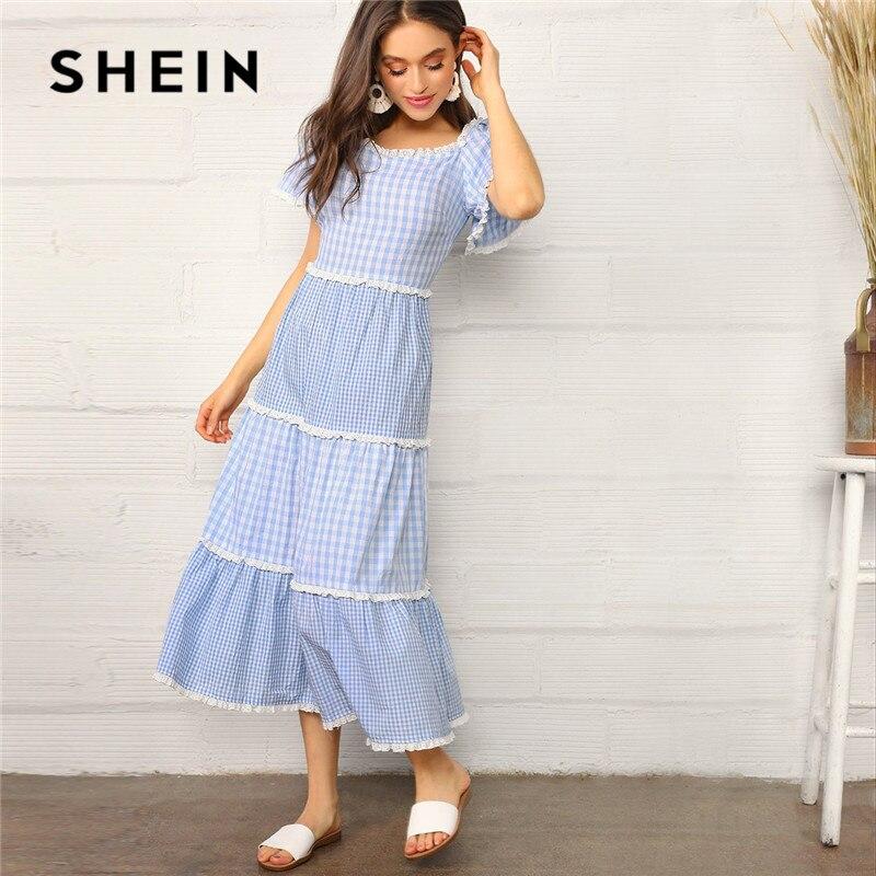 SHEIN синее кружевное многослойное платье в мелкую клетку Макси женское платье Boho из хлопка с пышными рукавами с высокой талией Летнее Длинно...