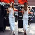 Envío Gratis 2017 Nueva Moda Largo Maxi Faldas Lápiz Para Las Mujeres señoras Denim Primavera Y El Verano Más Tamaño 2XL Stretch Faldas XL