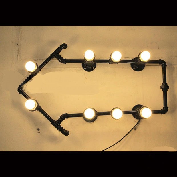 Water pipes wall lights LED industrial loft retro coffee bar ...