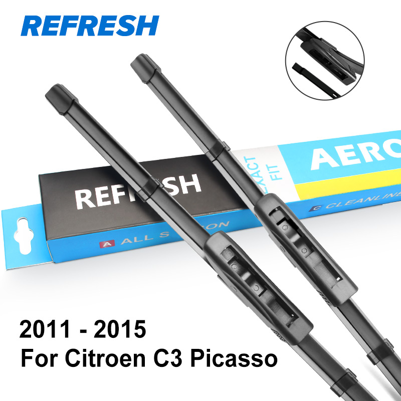 "REFRESH Щетки стеклоочистителя для Citroen C3 Picasso 2"" и 16"" Fit Push Button / Bayonet Arms 2008 2009 2010 2011 2012 2013 - Цвет: 2011 - 2015"