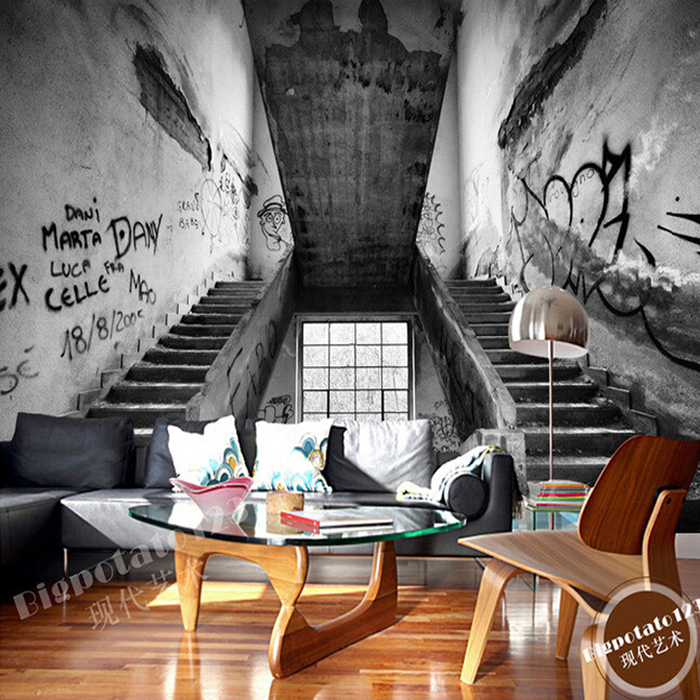 3D Abstract Retro Personality Graffiti Staircase Pattern