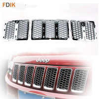 Replacement Chrome Front Honeycomb Mesh Grille Grill Inserts Cover Trim for Jeep Grand Cherokee 2014 2015 2016
