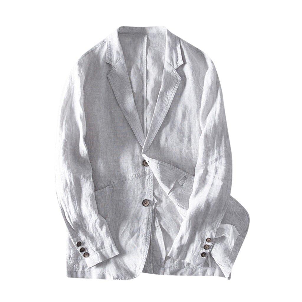 Men Blazer Masculino Sobretudo Masculino Blazers 2019 Fashion Fit Linen Blend Pocket Solid Long Sleeve Outwear Polyester Coat Z4