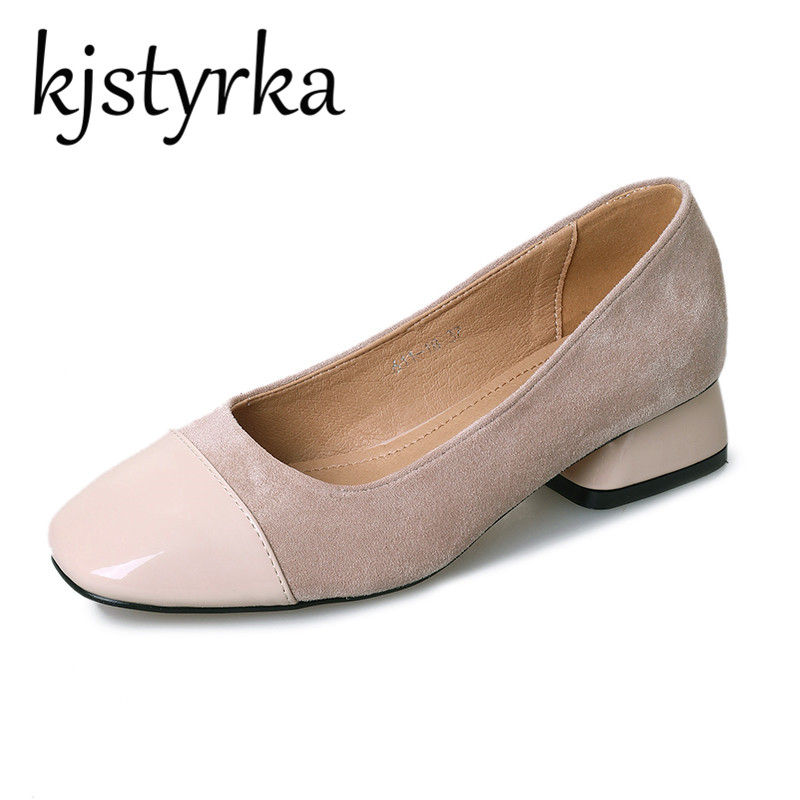 Kjstyrka Women crude with a single shoe shallow mouth Square Toe Med Heel Suede shoes 2018 new fashion Office lady Work shoes women crude with a single shoe shallow mouth high heeled shoes 2018 new fashion lady shoes for women high heeled shoes spring 39