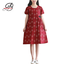 Borisovich New 2017 Summer Art Style Loose Casual Large Size Cotton Dress Fashion Printed O-neck Short Sleeved Women Dress M404