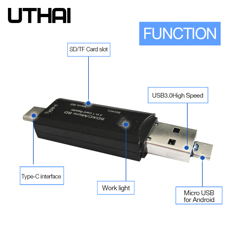 UTHAI C18 Card Reader USB 3.0 SD/Micro SD TF OTG Smart Memory Card Adapter For Laptop USB 3.0 Type C Cardreader SD Card Reader