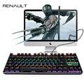 RENAULT 104/87 Teclas de Teclado Mecânico Azul Interruptor Originais Rainbow LED Retroiluminado Gaming Keyboard para PC Game Teclado Gamer