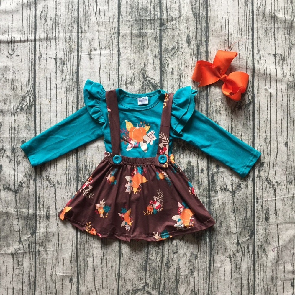 girls kids Fall halloween clothing children blue top with pumpkin skirts sets brown dress Hallween party clothing with bows