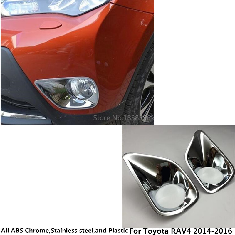 For Toyota RAV4 2014 2015 2016 car body Styling front fog light lamp detector frame stick styling ABS Chrome cover trim parts