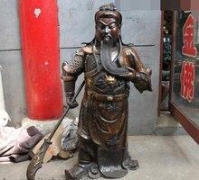 free shipping huij 007349 37″Chinese Purple Bronze Gold Dragon Guan Gong GuanYu warrior Hold Sword Statue