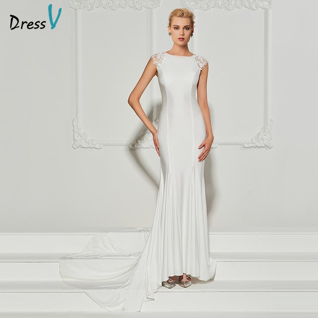 Dressv white long evening dress scoop neck sweep neck trumpet cap sleeves  wedding party formal dress mermaid evening dresses 70cfa61e0b9a