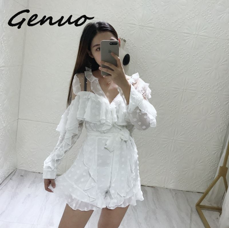 Genuo New Summer Lace Up Dot   Jumpsuit   Women Long Sleeve Bow Bandages Perspective Shorts Sexy Women Clothes 2019 Fashion New
