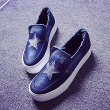 Free shipping new heavy-bottomed platform shoes denim loafers stars canvas shoes a pedal