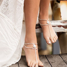 Danze 2017 New Fashion Water Drop Crystal Anklet For Women Boho Simple Alloy Chain Anklets For Women Toe Ring Anklets Jewelry