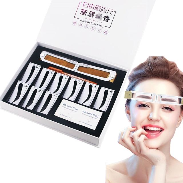 Microblading magnético maquiagem sobrancelha medida guia régua permanente ferramentas transporte da gota