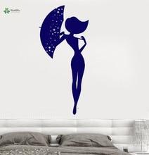 YOYOYU Vinyl Wall Decal Romantic Love Beauty Umbrella Woman Beautiful Gir Room Home Decoration Stickers FD138