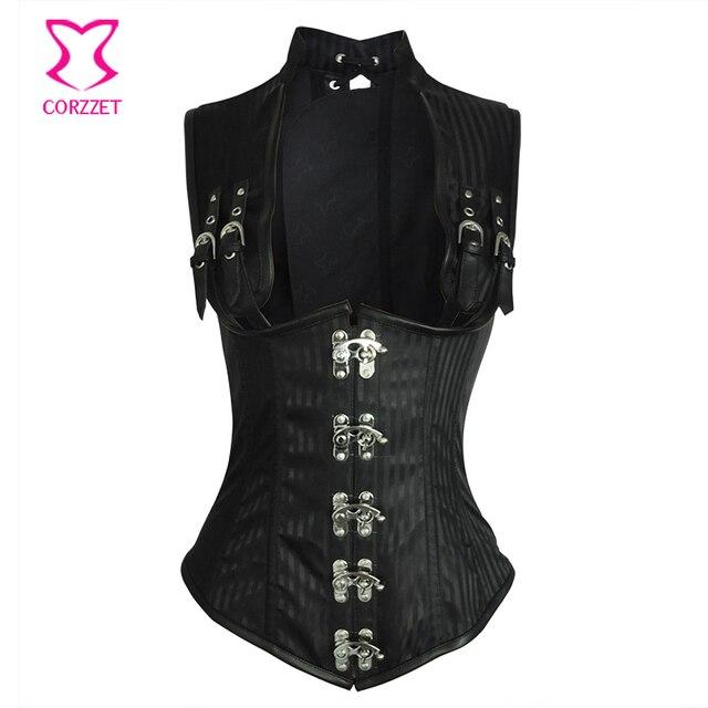Black Striped Steel Boned Underbust Corset Vest Waist Trainer Plus Size  Gothic Clothing Women Corsets And Bustiers Steampunk 6XL 11c867345