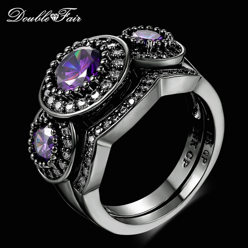 Double Fair New Design Round Purple CZ Stone Finger Ring ...