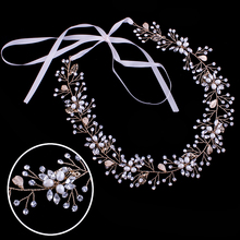 Miallo Headband Tiara Hair Jewelry  Leaf Rhinestone Pearl Chain Head Handmade Bridal Wedding Hair Accessories